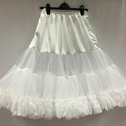 "Retro 50s Style Rockabilly Dress Petticoat Skirt - White - XL 18-20 - 26"" Long"