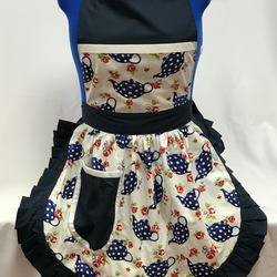 Vintage 50s Style Full Apron Pinny - Navy & White Teapots (Polka Dot) on White