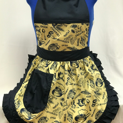 Vintage 50s Style Full Apron Pinny - Yellow Kitchem Theme with Navy Trim