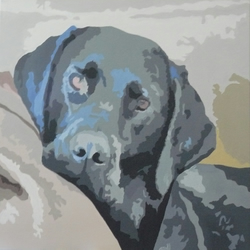 Original, Signed, Acrylic Dog Painting On Canvas-Black Labrador