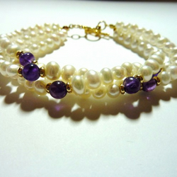 Vintage Freshwater Pearl and Amethyst Bracelet - Riddled With Pearls