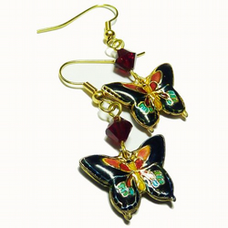 Cloisonne Butterfly and Swarovski earrings - Flutterby Dreams