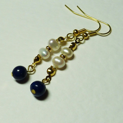 Vintage Freshwater Pearl and Lapis Lazuli Earrings - Lady Of The Sea