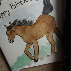 Pony, Horse Greetings Card - an original using pen and ink and watercolour