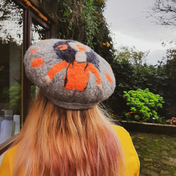 Hand Felted Hat with comical female character - Amelia - merino and British wool