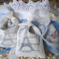 Shabby Chic Paris Lavender Sachets Handstamped