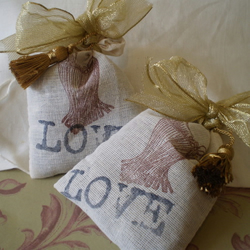 "Handstamped Shabby Chic ""Love"" Lavender Sachets"