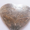 Antiqued Silver Tone Tribal Tibetan Heart Stamping