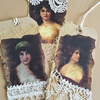 Beautiful Lady Mixed Media Journal Gift Tags x 3