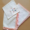 Vintage Handkerchief Pink Set x 3 Upcyle Sewing Project