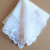 Vintage White Wedding Handkerchief Deep Lace Edging