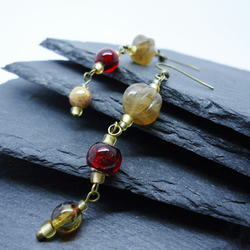 Red and gold glass drop earrings