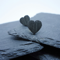 Black and Silver Striped Heart Stud Earrings