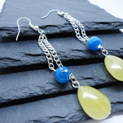 Honey Quartz and Blue Agate Long Drop Earrings