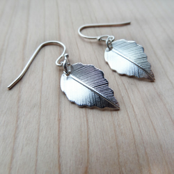 Leaf drop earrings, silver plated