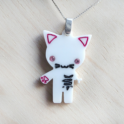 Halloween zombie kitty cat necklace laser cut on a sterling silver chain