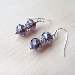 Purple beaded sparkle earrings