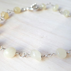 Honey jade  and sterling silver beaded bracelet