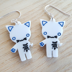 Laser cut halloween zombie kitty earrings on silver plated ear wires