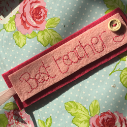 Beautiful felt bookmark gift embroidered with the words 'Best teacher'