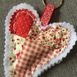 Lovely handmade patchwork heart keyring