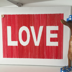 "Hand embroided canvass 'LOVE' 11.8""x16"" in red"