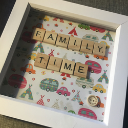 'Family Time' scrabble letter picture gift