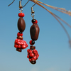 earrings with seeds and coral
