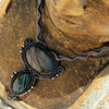Macrame necklace with rainbow labradorite
