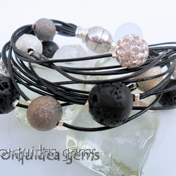 Eclipse: Gemstone and Shamballa Bead Multi Strand Black Leather Bracelet