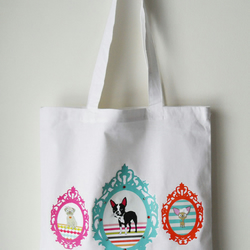 Boston Terrier Tote Bag White Vintage Frames