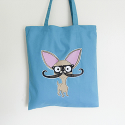 Chihuahua Tote Bag Blue With Mustache