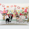Diamond Jubilee Cushion With Chihuahua, Pug and Boston Terrier