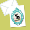 Boston Terrier Greeting Card Vintage Frame