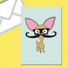 Chihuahua Greeting Card Blank With Glasses