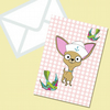 Chihuahua Sailor Themed Greeting Card With Swallows & Envelope