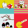 SET OF 4 JAPANESE THEMED BLANK GREETING CARDS