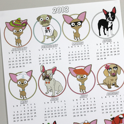 2013 Dog Calender - Chihuahua, Pug, Boston Terrier & French Bulldog