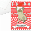 Pug Christmas Card, Santa Hat