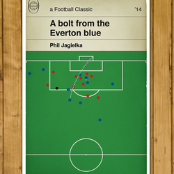 Football Book Cover Poster - Jagielka goal for Everton v Liverpool - A3 Size