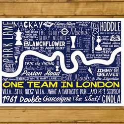 Football Poster - One Team in London - Tottenham Hotspur - A3