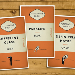 Britpop Book Cover Posters - Set of 3 - Pulp, Blur and Oasis - A3