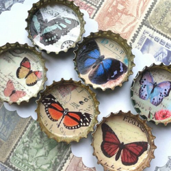 Butterfly Bottlecap Magnets x 6