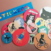 Packet of cat stickers 13 sticker set brighly coloured vinyl stickers