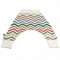 Organic harem pants, Baby Trousers Relaxed bottoms in Multi chevrons