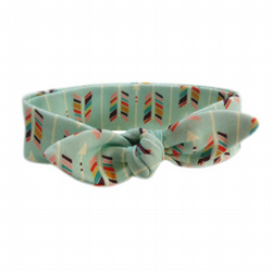 ORGANIC Baby Knotted Headband in MULTI ARROWS on Mint - A Modern Baby Gift Idea