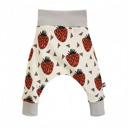 ORGANIC Baby HAREM PANTS STRAWBERRIES Trousers GIFT IDEA by BellaOski