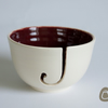 Yarn Bowl - Purple and Cream Wool Bowl - Burgundy
