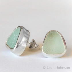 Aqua Sea Glass & Silver Studs