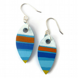 Wooden Abstract Painted Earrings, Sterling Silver Hooks